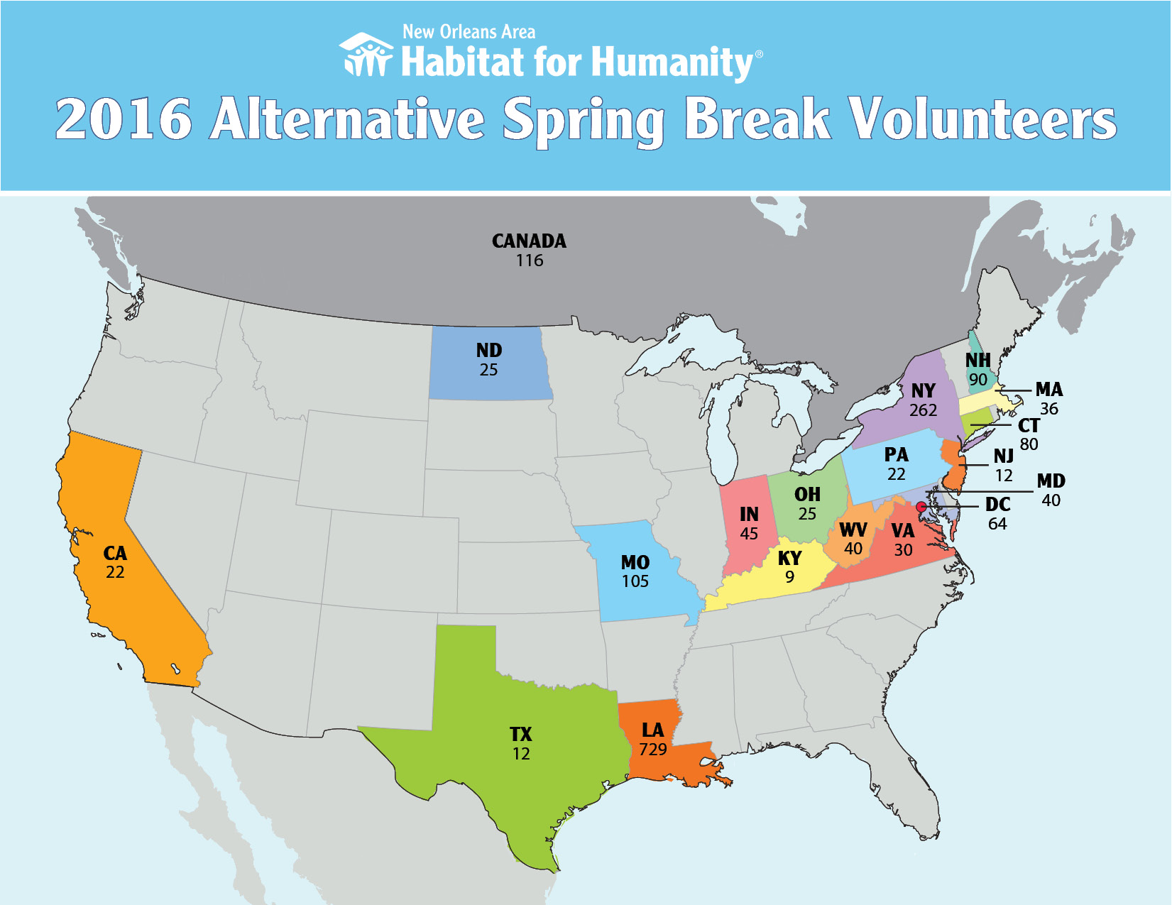 2016 Spring Break Map